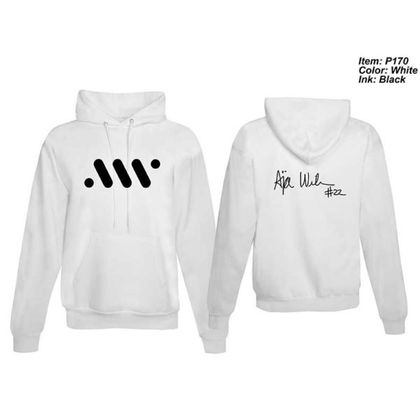 Adult Long-sleeve Hoodie with Logo and Autograph - White