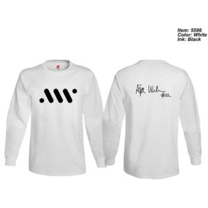 Adult Long-sleeve T-shirt with Logo and Autograph - White